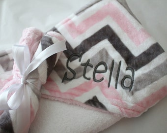 Baby, Infant Hooded Towel, Gray, Charcoal, Baby  Pink and White, Terrycloth, Minky with Coordinating Washcloths