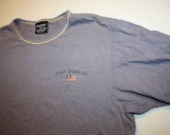 VTG Vintage Polo Jeans Ralph Lauren T-Shirt Polo Sport spellout Tommy Hilfiger Nautica T Extra Large XL 90s Hip Hop Retro Button Up Hip Hop