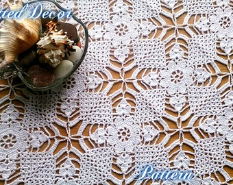 Crochet Square Doily Tutorial Lace Tablecloth Pattern Crochet Tablecloth Pattern Square Tablecloth Tutorial Square Motif DIY Tablecloth PDF