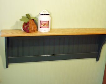 """Wood Wall Shelf with Oak Top and Painted Green No Hooks 42"""""""