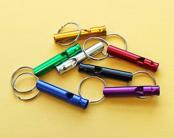 5 Survival Whistles Anodized Aluminum Assorted Colors - Z037