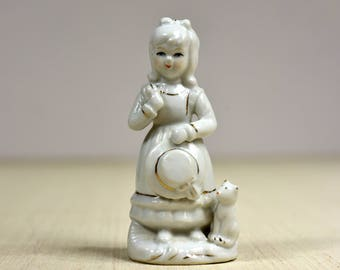 Vintage,White,Vintage Porcelain,Figurine, Sweet Friends, Adorable, Girl with Kitten,Girl and hat
