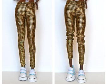Barbie clothes, golden stretch Legging, barbie holographic leggings, barbie pants, barbie handmade made to movie barbie,doll clothes BSG02