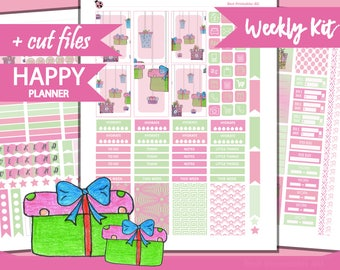 Birthday Weekly Kit, Happy Planner Stickers, Printable Planner Stickers, Weekly Planner Kit, Doodle Planner Stickers, handdrown, HP-31