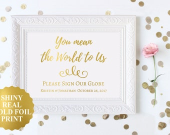 Wedding guest book globe sign world map guest book printable you mean the world to us sign world map wedding guest book signwedding gumiabroncs Images