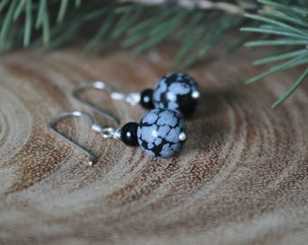 Snowflake Obsidian and Black Onyx Sterling Silver Earrings, Bead Earrings, Natural Gemstone, Dangle Earrings, Ready to Ship