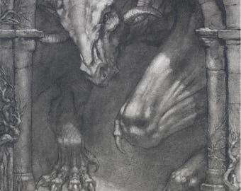 Portal - Gothic Dragon - 8 x 10 art print of a charcoal drawing