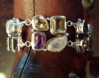 Sterling silver multi stone, amythyst, citrine,  moonstone adjustable bracelet