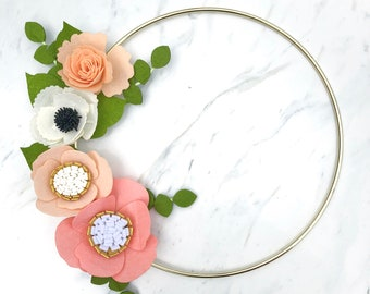 Felt Flower Wreath / Gold Wreath / Gold Hoop Wreath