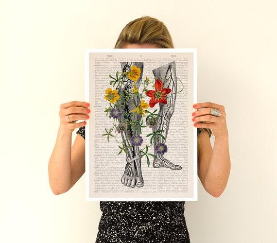 Wild Flowers on my legs Poster, anatomical art, anatomical art,Wall art, flower art poster, Flower poster wall art, SKA096PA3