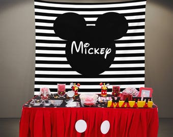 Mickey Backdrop, Mouse Birthday Party Photo Backdrop, Dessert Table Decorations, Mouse Candy Table Backdrop Clubhouse Birthday Fabric Banner