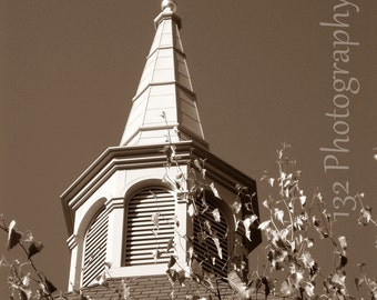 Church Photo 5x7 Signed Print Church Steeple Architecture Wall Art