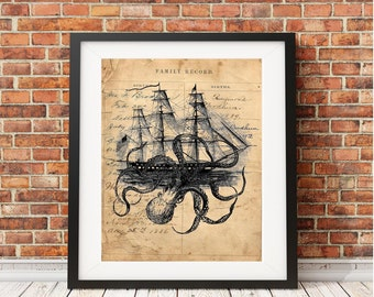 Octopus Kraken attacking ship nautical art print wall vintage decor octoship OAS3028