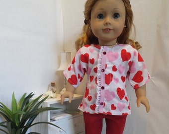 Put A Little Love in Your Heart-Red Pink Heart outfit w/leggings Fits AmericanGirl type dolls