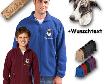 Cosy fleece jacket jacket embroidery embroidered dog GREYHOUND + Own Words