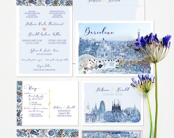 Barcelona Spain Destination Wedding Invitation Set in blue colors Mediterranean Illustrated wedding invitation   - Deposit Payment