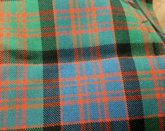 Macdonald Tartan Fabric. 100% 10oz Pure New Wool.  Remnant Piece. Macdonald Clan Ancient available