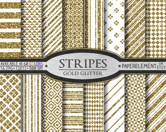 Gold Glitter Stripes Digital Paper: Gold Glitter Tribal Patterns, Striped Scrapbook Pages, Sparkly Stripes, Nautical, Vertical, Horizontal