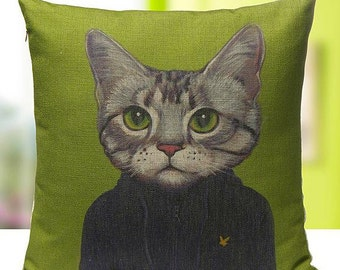 Cats In Clothes Pillow Cover - Vincent - Painting by Heather Mattoon