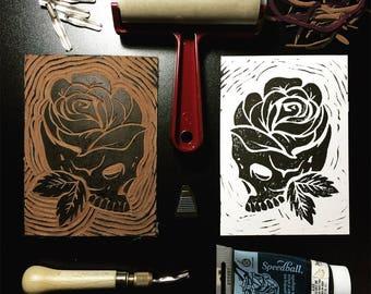 Skull rose block print