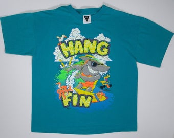 90s Neon T Shirt Shark Hang Fin Surfer turquoise tee graphic M/L hipster sea punk waves summer beach 80s ocean pacific