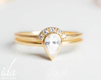 1 Carat Pear Shaped Engagement Ring Pear Diamond Ring Pear