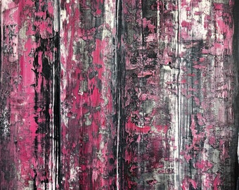 "Gerhard Richter Inspired Red Painting, Richter Style Abstract Red Painting on 16"" x 20"" Canvas, Richter Inspired Painting, Red Painting"
