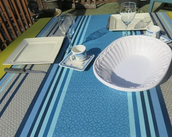 """New collection 2018.Rectangular oilcloth tablecloth. You choose the length! Maximum width is 61"""".Fabric from France.Soft ble with stripes"""