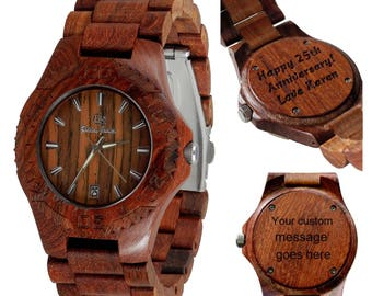 Wooden watch - hand made - personal message laser engraving - Zion