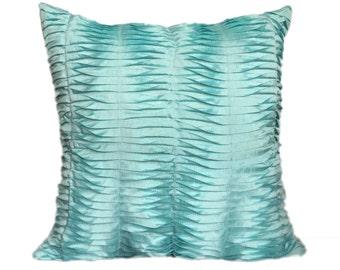 Aqua Blue Textured Pillow Pleated Blue pillow Pleated Aqua Blue Euro Sham Throws 14x14 16x16 18x18 20x20 22x22 24x24 26x26