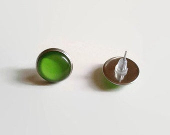 Green Studs, Green Large Earrings, 12mm studs, Stainless Steel Studs