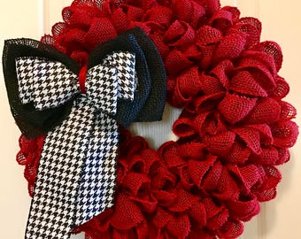 ROLL TIDE ROLL Crimson Red Burlap Wreath with Alabama Bow