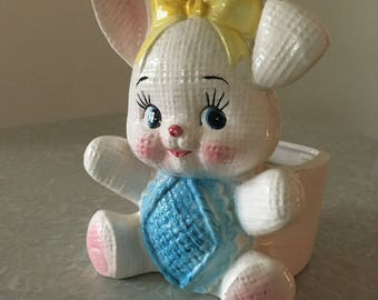 Lefton Bunny Planter for Nursery or Easter Lefton 5741
