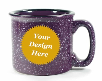 Custom Purple Camp Mug - ceramic speckled coffee cup