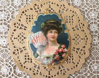 Pretty Edwardian Era Scrap with Lady with Fan