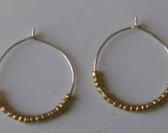 Little Gold Hoops / Handmade Little Gold Hoops/Beaded Hoop Earrings/ Gold Hoops