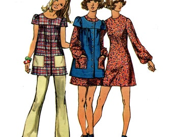 1970s Smock Top Mini Dress and Pants Pattern A Line Dress Art Smock Womens Pants Vintage Sewing Pattern Bust Junior 32 Simplicity 9834