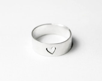 Heart Cutout Ring - Simple Heart Ring - Promise Ring - Wedding Band for Him - Promise Rings for Couples