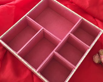 Supply Jewelry Tray. Faux Alligator Vinyl Sides With Pink Flocked Jewelry Sections.