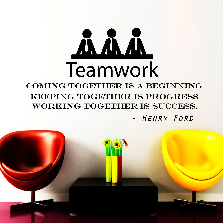 Teamwork Quotes Wall Decals Teamwork Quote Decal Vinyl Sticker Henry Ford