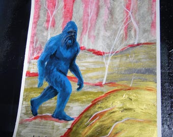 Bigfoot Sasquatch Acrylic Painting on Cardstock 11x14