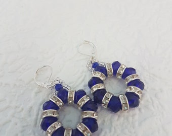 Handmade round blue and silver earrings