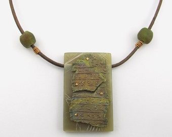 Bronze and Horn Necklace with Meroitic Script