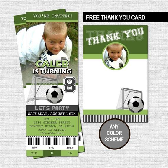 SOCCER TICKET INVITATIONS Free Thank You Card Birthday