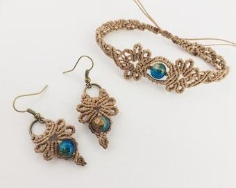 Macrame Jewelry Set Bracelet and Earrings Floral Pattern