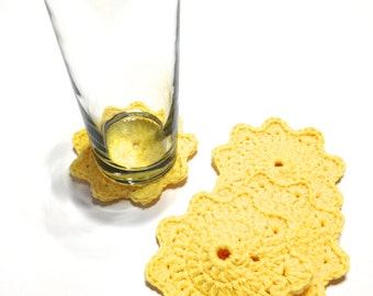 Yellow Crocheted Coasters-Set Of Four
