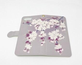 Cell Phone Case - Sakura / Graysh purple