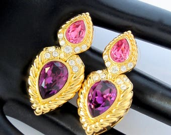 Nolan Miller signed Purple & Pink crystal Dangle pierced EARRINGS in gold tone metal with box~lovely vintage costume jewelry