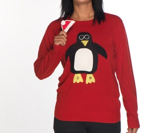 Removable Santa Hat Squeaky Tummy Penguin Ladies Christmas Sweater