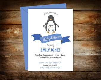Penguin Baby Shower - Penguin Shower Invitation - Baby Shower Invitation - Penguin and Baby - Digital Download - Print at Home - 0002-NB